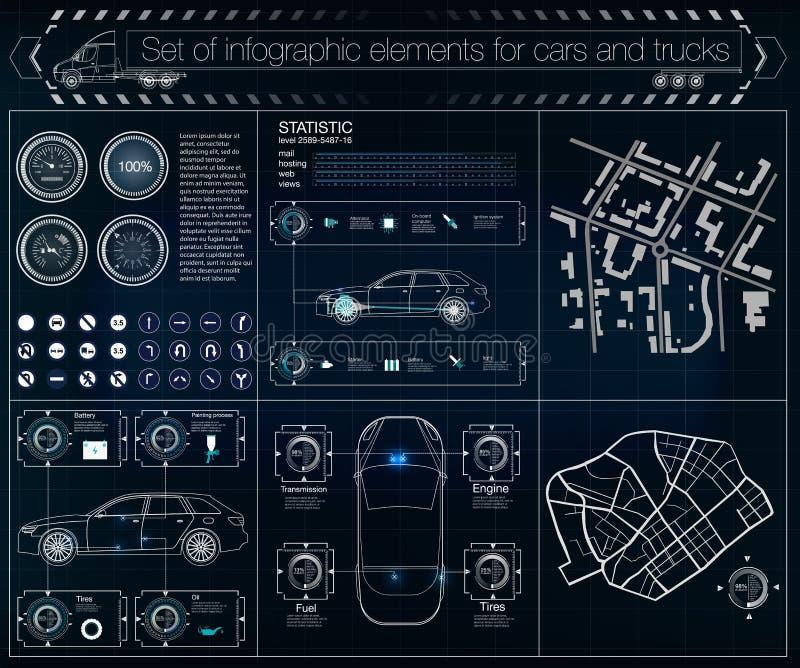 Futuristisch gebruikersinterface Infographics van vrachtvervoer en vervoer Malplaatje van automobiele infographics vector illustratie