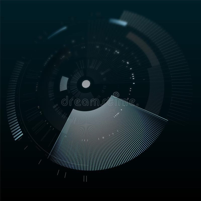 Futuristisch interfaceelement in perspectief Technologiecirkel Digitaal futuristisch gebruikersinterface HUD Sc.i-het futuristisc vector illustratie