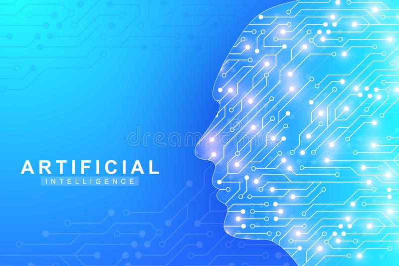 Futuristisch Kunstmatige intelligentie en Machine het Leren Concept Menselijke Grote gegevensvisualisatie De Mededeling van de go stock illustratie