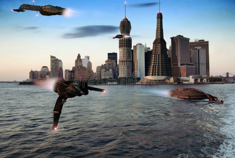 Futuristisch lager Manhattan royalty-vrije illustratie