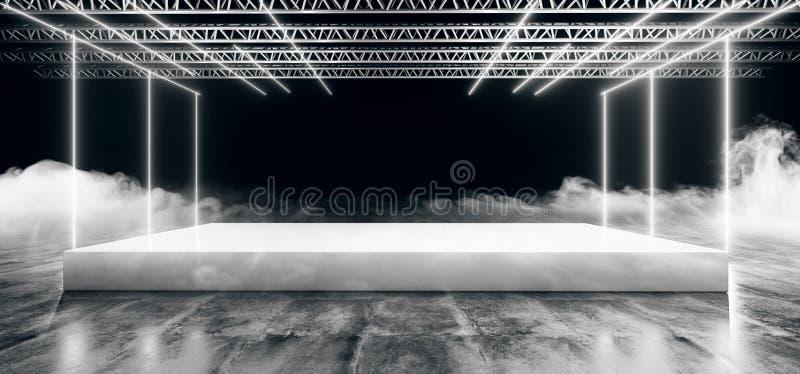 Futuristisch Leeg Gloeiend Wit Neon Geleid Laserstadium met Lege Ruimte van de Metaal de Realistische Structuur met Zwarte Donker vector illustratie