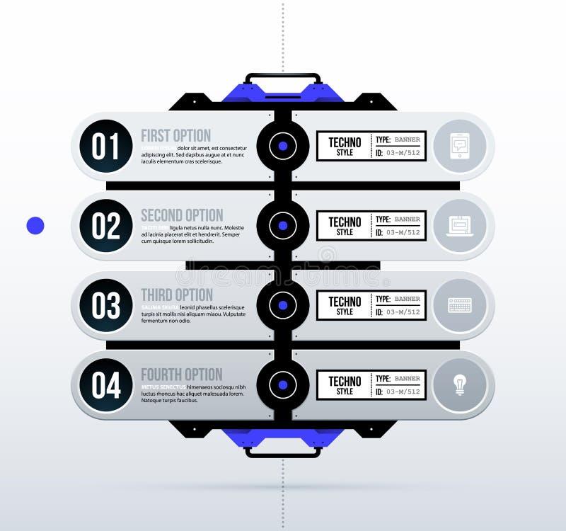 Futuristisch malplaatje met vier opties in schone hi-tech/technostijl royalty-vrije illustratie