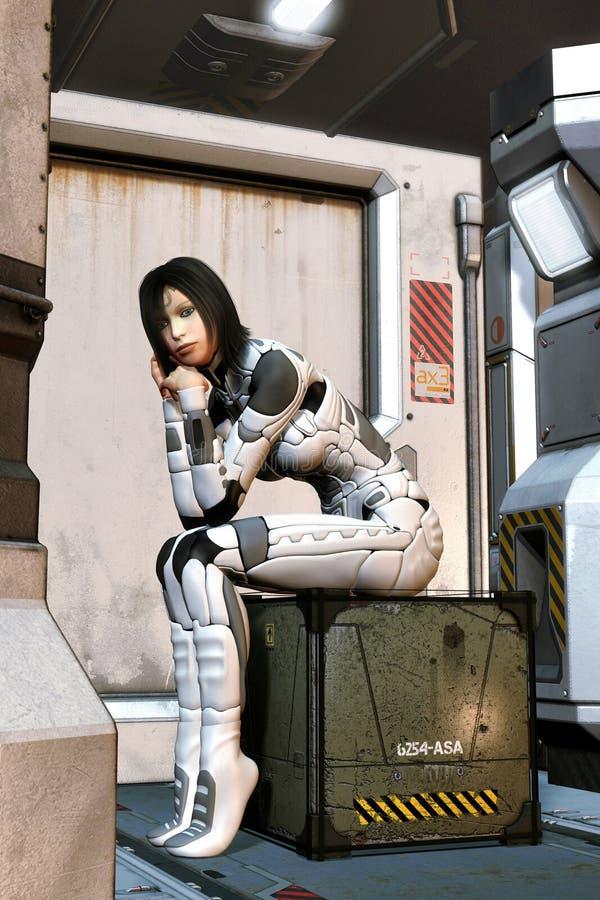 Futuristisch meisje die het ruimteschip wachten stock illustratie
