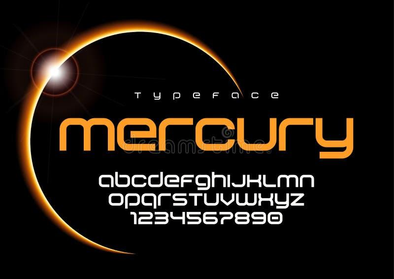 Futuristisch minimalistisch de doopvontontwerp van Mercury, alfabet, lettersoort, l royalty-vrije illustratie