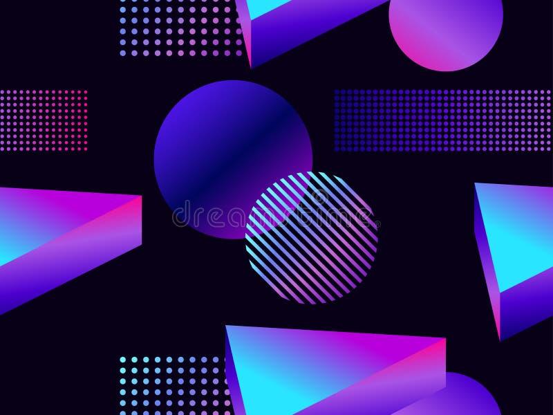 Futuristisch naadloos patroon met geometrische vormen Gradiënt met purpere tonen 3d isometrische vorm royalty-vrije illustratie