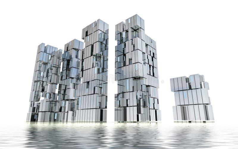 Futuristisch nieuw het ontwerpconcept van de bedrijfseilandstad royalty-vrije stock foto's