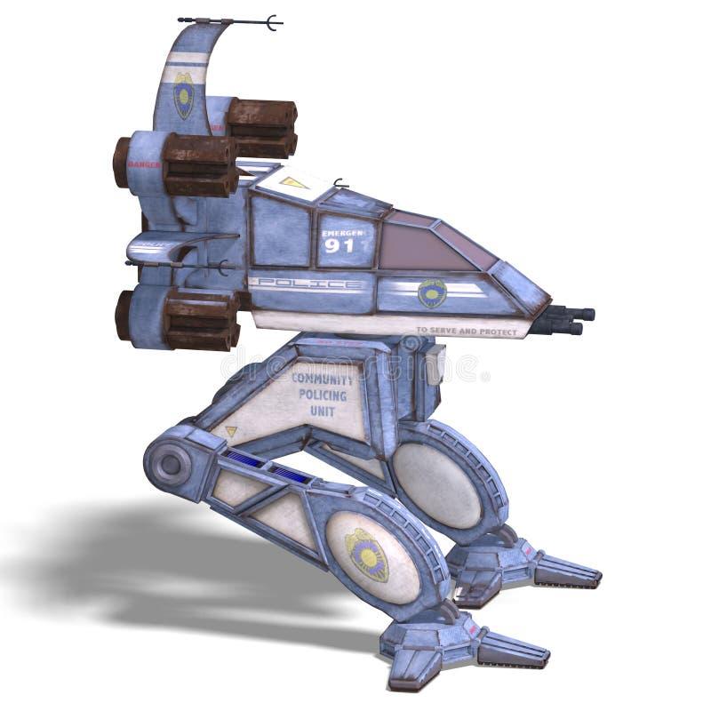 Futuristisch omzettend scifirobot en ruimteschip vector illustratie