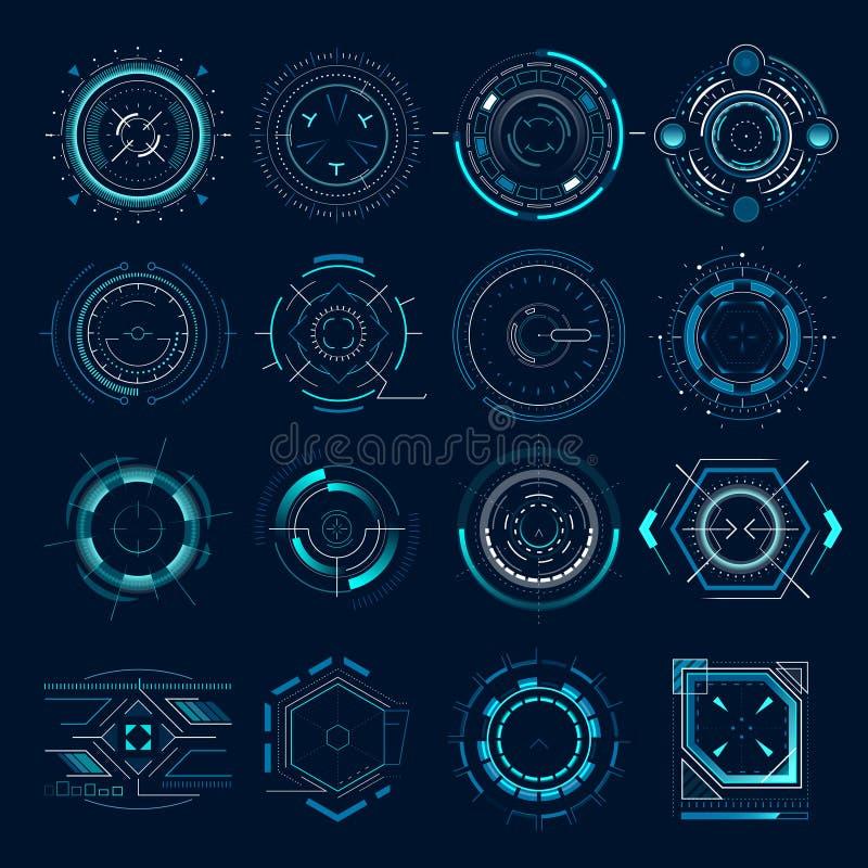 Futuristisch optisch doel Militair collimatorgezicht, kanondoelstellingen de aanwijzing van de nadrukwaaier Doel die van het slui royalty-vrije illustratie