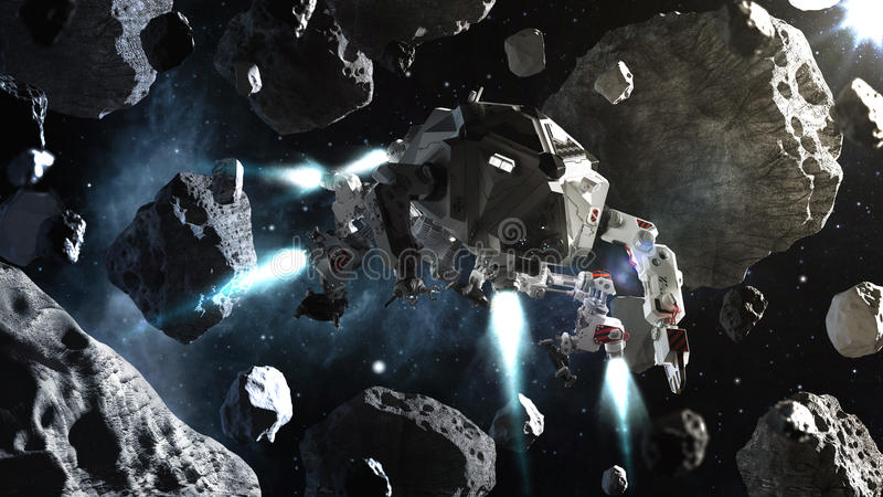 Futuristisch ruimteschip die in ruimte tussen asteroïden vliegen vector illustratie