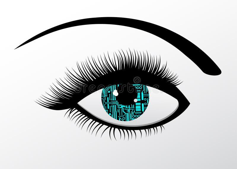 Futuristisch Technologie Geautomatiseerd oog stock illustratie