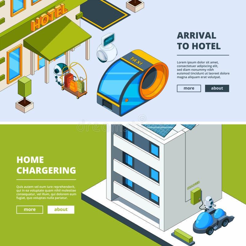 Futuristisch vervoer en robots Bannersmalplaatje met isometrische lage polystad van toekomst stock illustratie