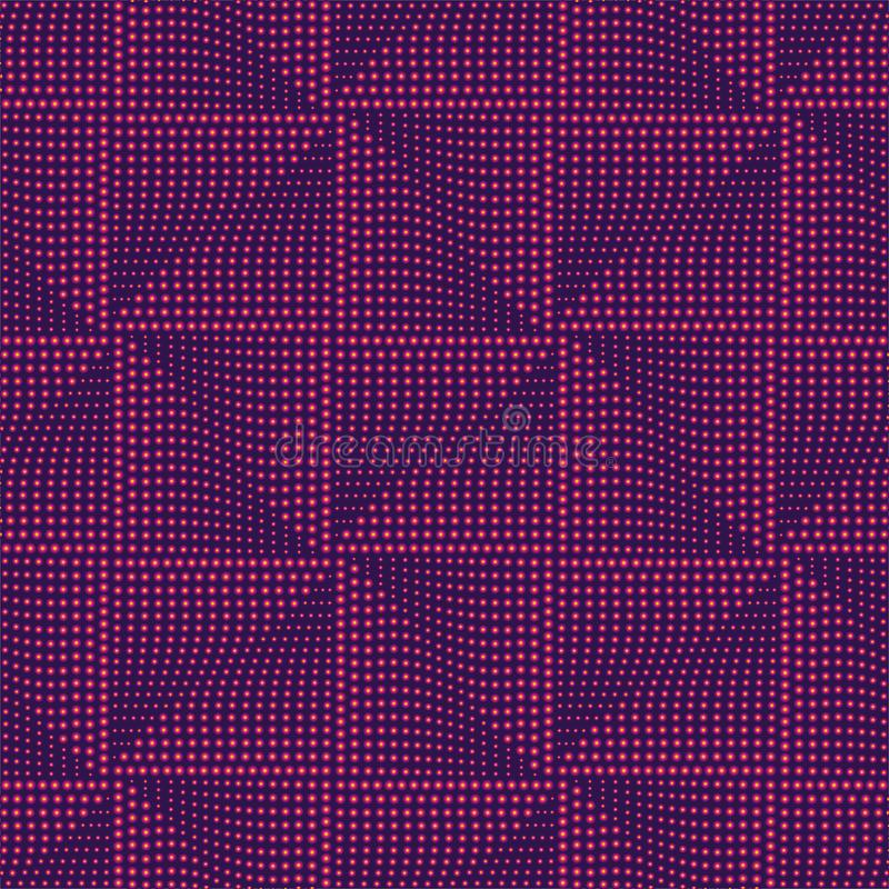 Futuristisch vierkant naadloos patroon Geometrische abstracte purpere achtergrond, gloeiend patroon Vector illustratie stock illustratie