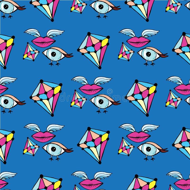 Futuristisch vogeloog en lippenpatroon met vleugels en stenen en verschillend op blauw royalty-vrije illustratie