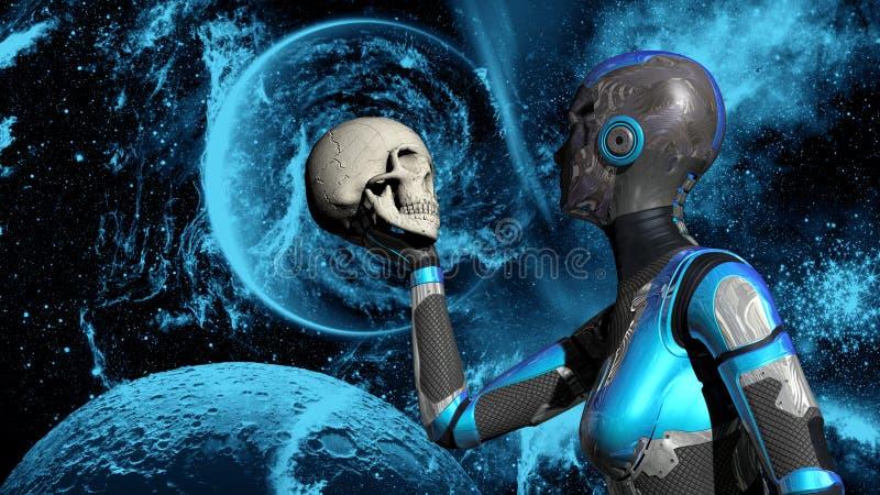 Futuristisch Vrouwelijk Android in Diepe Ruimteholdings menselijke schedel vector illustratie