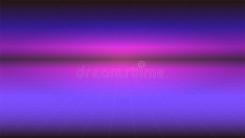 Futuristische abstracte achtergrond met rek voorbij de horizon van de oppervlakte Horizontale retro gradiënt sc.i-FI vector illustratie
