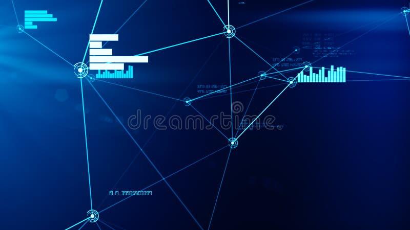 Futuristische abstracte blauwe netwerk en dataverbindingnetillustratie stock foto's