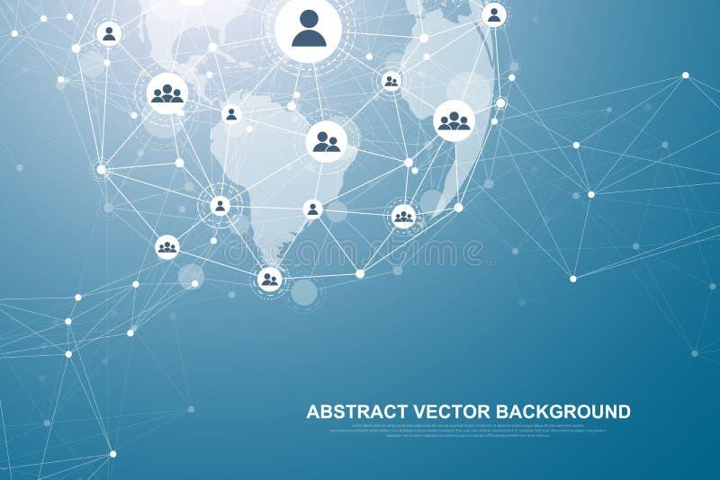 Futuristische abstracte blockchain technologie als achtergrond Globale Internet-netwerkverbinding Edele om netwerkzaken te turen royalty-vrije illustratie