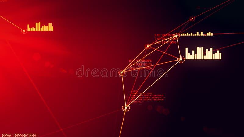 Futuristische abstracte rode netwerk en dataverbindingnetillustratie stock afbeeldingen