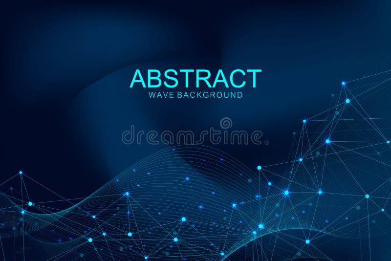Futuristische abstracte vector blockchain technologie als achtergrond Diep Web Edele om netwerk bedrijfsconcept te turen globaal royalty-vrije illustratie