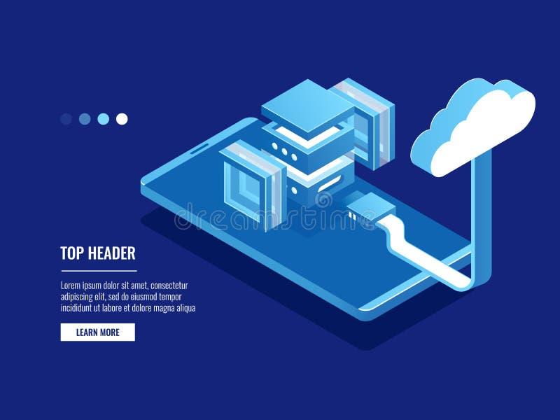 Futuristische abstrakte Data-Warehouse, Wolkenspeicher, Serverraum, Rechenzentrum und Datenbankikone, Antriebskraft vektor abbildung