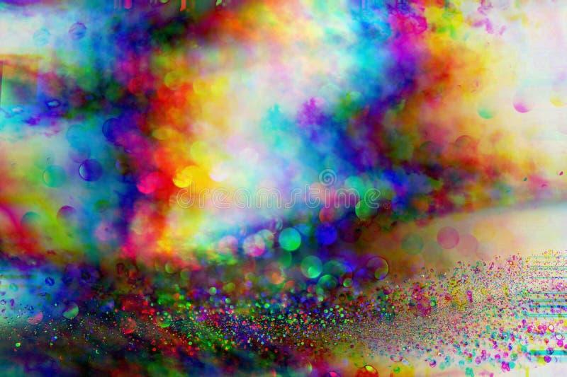 Futuristische achtergrond van de de jaren '80 retro stijl Digitale of Cyber-Oppervlakte neonlichten en geometrisch patroon, glitc vector illustratie