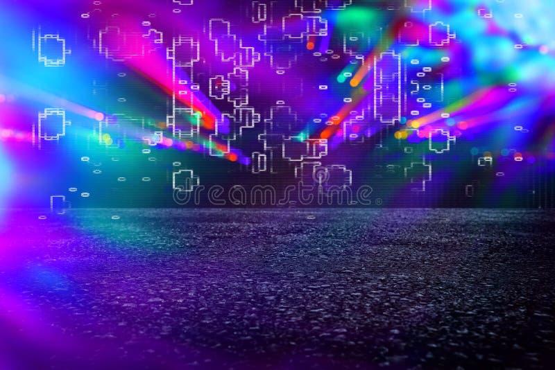 Futuristische achtergrond van de de jaren '80 retro stijl Digitale of Cyber-Oppervlakte neonlichten en geometrisch patroon, glitc stock afbeeldingen