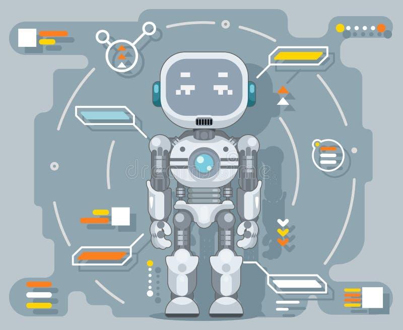 Futuristische androïde van de de informatieinterface van de robot elektronische kunstmatige cybernetische intelligentie vlakke he royalty-vrije illustratie