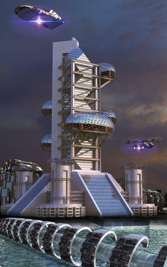Futuristische architectuur met eivormige structuren vector illustratie