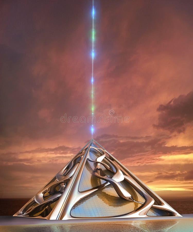 futuristische Architektur 3D mit Weltraumlift stock abbildung