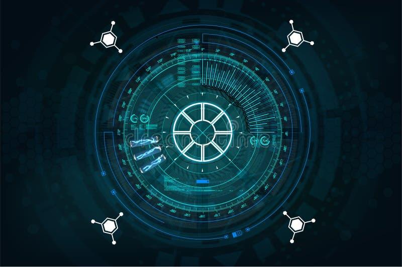 Futuristische Benutzerschnittstelle Gerät in HUD-Art lizenzfreie abbildung