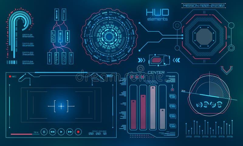 Futuristische Benutzerschnittstelle, HUD, FUI-Technologie-Hintergrund lizenzfreie abbildung