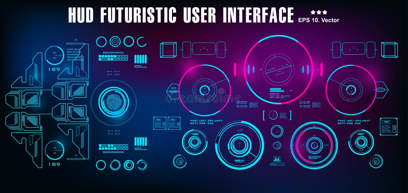 Futuristische blaue Benutzerschnittstelle HUDs, Technologieschirm der Armaturenbrettanzeigenvirtuellen realität vektor abbildung