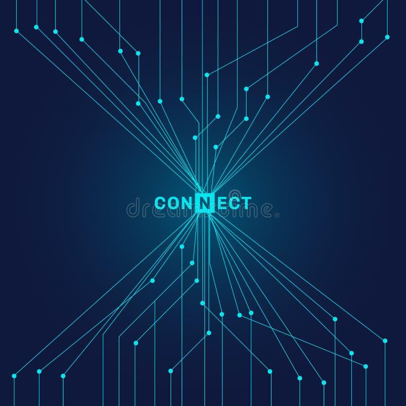 Futuristische blaue Leiterplatte der Zusammenfassung auf dunklem Hintergrund digita lizenzfreie abbildung