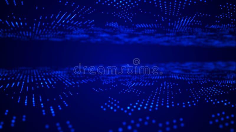 Futuristische blauwe puntenachtergrond De achtergrond van de wetenschap Grote gegevensvisualisatie het 3d teruggeven stock illustratie