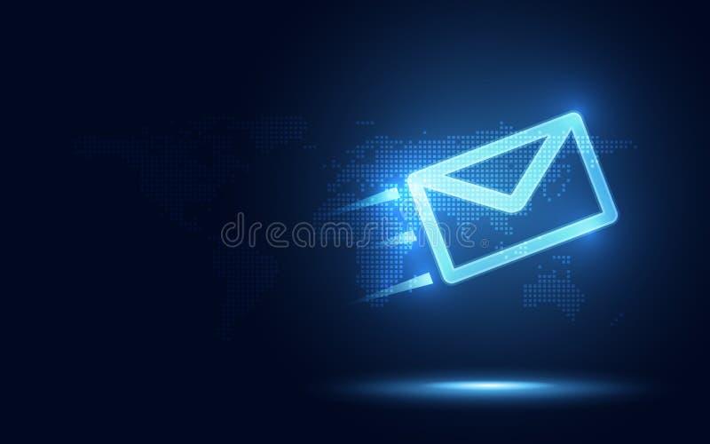 Futuristische blauwe uitdrukkelijke envelop en pakket abstracte technologieachtergrond Het commerciële quantumnetwerkmededeling v royalty-vrije illustratie