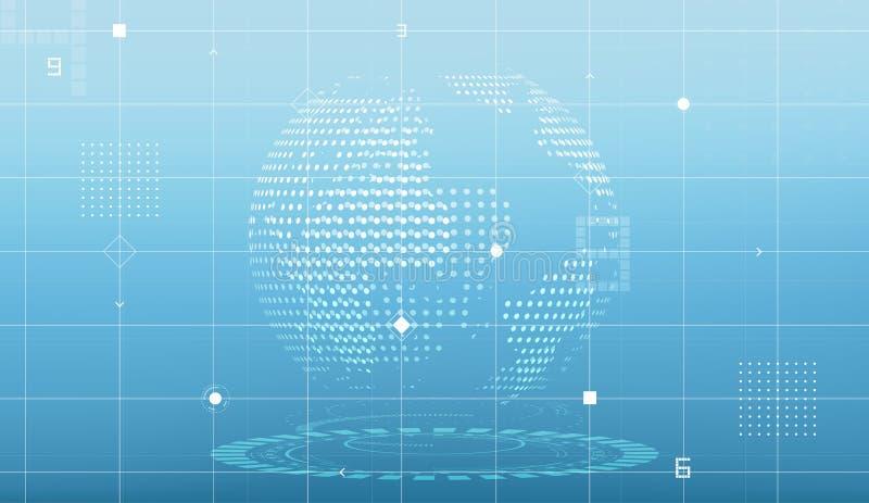 Futuristische bol en kringslijnen op lichtblauwe achtergrond stock illustratie