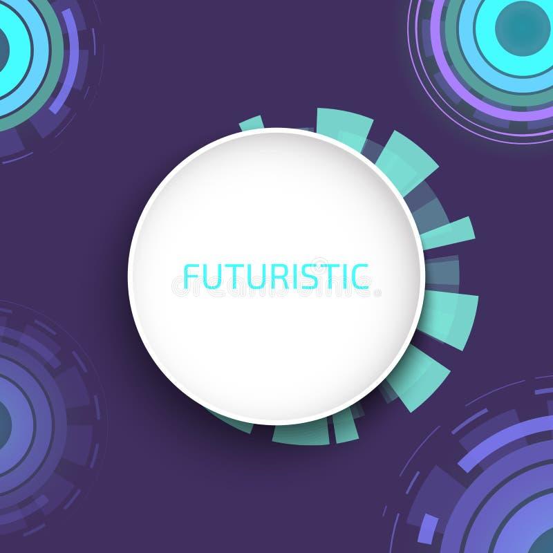 Futuristische cirkels achtergrondpatroon vectorillustratie De achtergrond van de Cybermaandag voor online het winkelen Sc.i-FI royalty-vrije illustratie