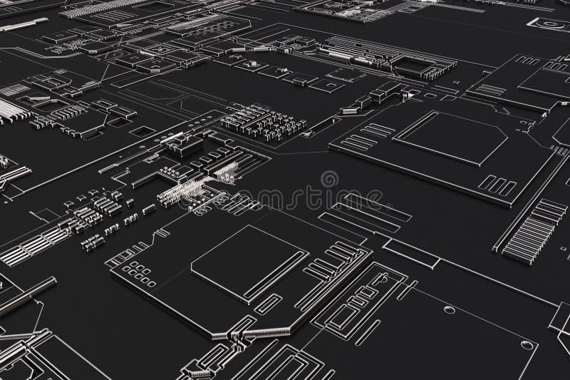 Futuristische computerraad royalty-vrije illustratie