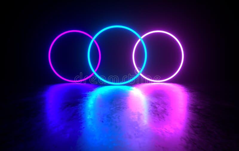Futuristische concrete ruimte sc.i-FI met gloeiend neon Virtuele werkelijkheids poort, trillende kleuren, laserenergiebron Blauw  vector illustratie