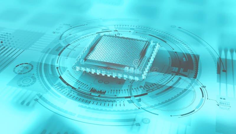 Futuristische CPU Quantums-Prozessor im globalen Computernetzwerk vektor abbildung