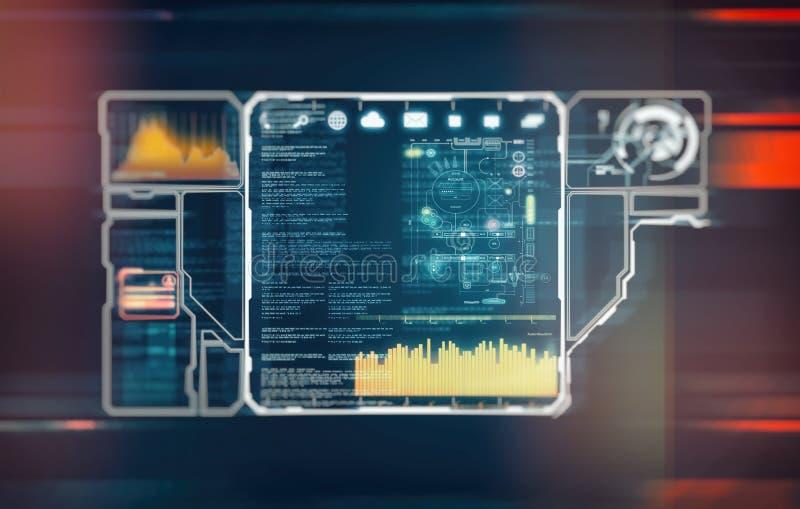 Futuristische cybertechnologie en informatie of netwerkbescherming royalty-vrije illustratie