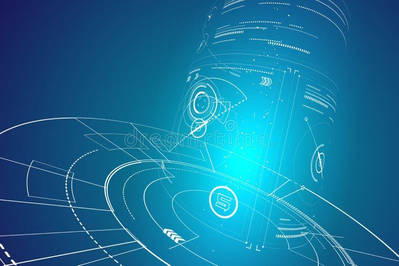Futuristische dreidimensionale Schnittstelle, abstraktes Grafikdesign vektor abbildung