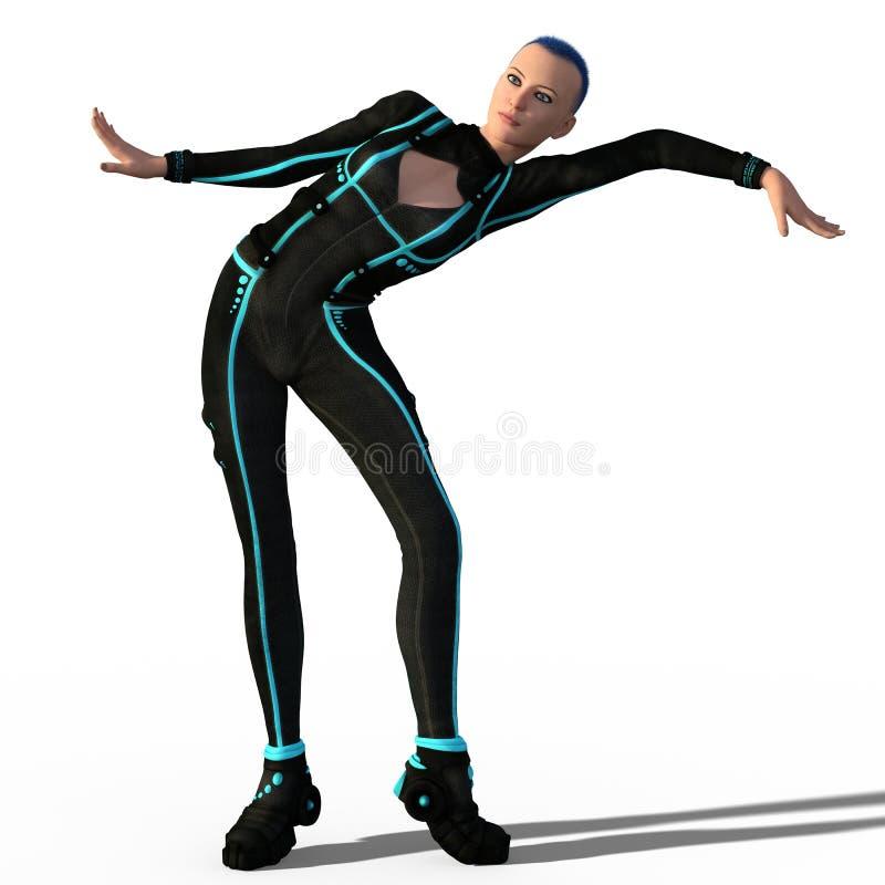 Futuristische geïsoleerde danser vector illustratie