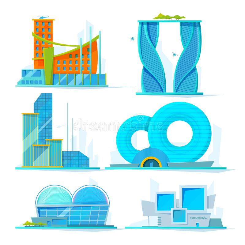 Futuristische Gebäude eingestellt Flache Bilder des Vektors von verschiedenen stilisierten Gebäuden lizenzfreie abbildung