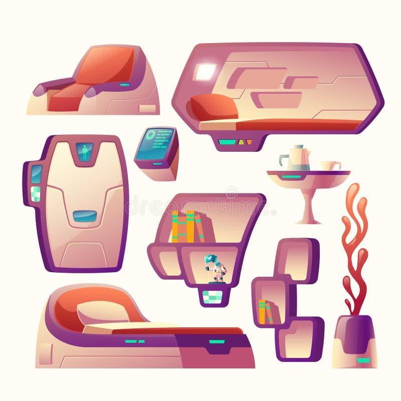 Futuristische Gegenstände des Vektors für Raumschiffcockpit lizenzfreie abbildung