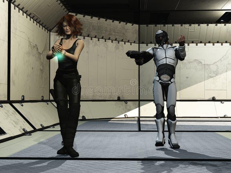 Futuristische gevangene en wacht stock illustratie