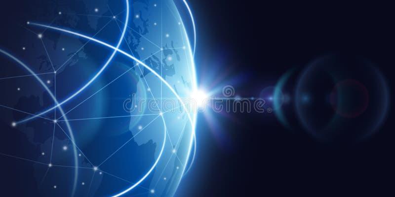 Futuristische globale Internet-netwerkachtergrond Globaliserings vectorconcept wereldwijd vector illustratie