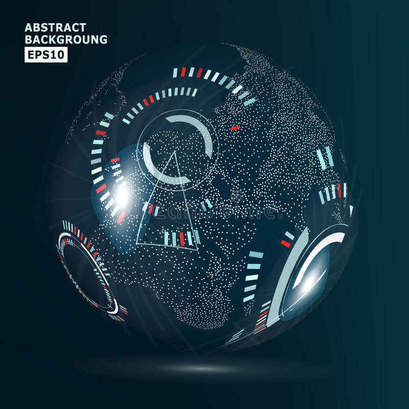 Futuristische Globaliseringsinterface Modern Aardeconcept Technologische digitale bolwereld royalty-vrije illustratie