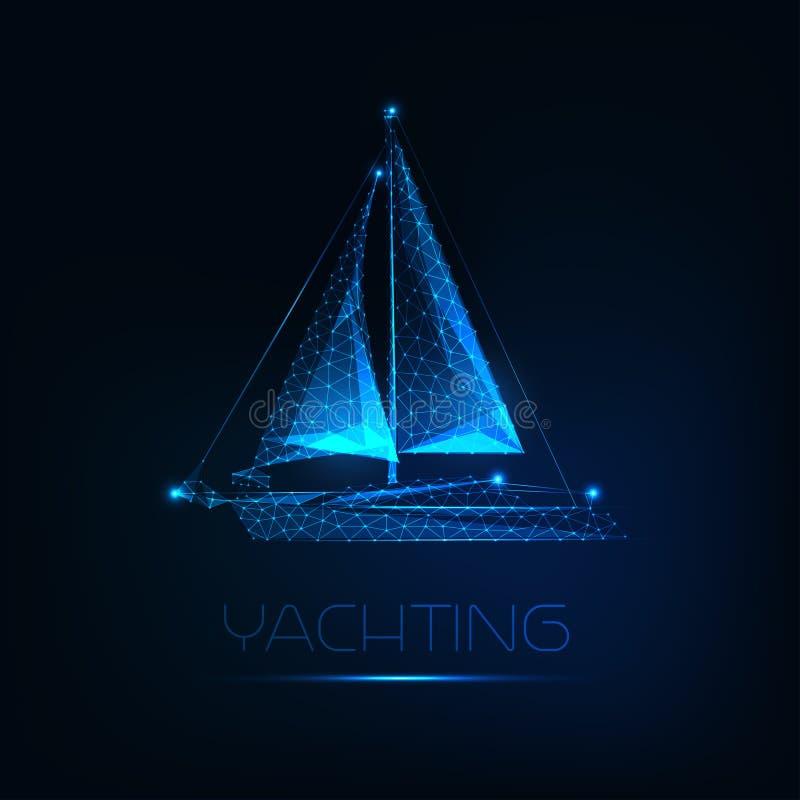 Futuristische gloeiende lage veelhoekige die jachtboot op donkerblauwe achtergrond wordt geïsoleerd royalty-vrije illustratie