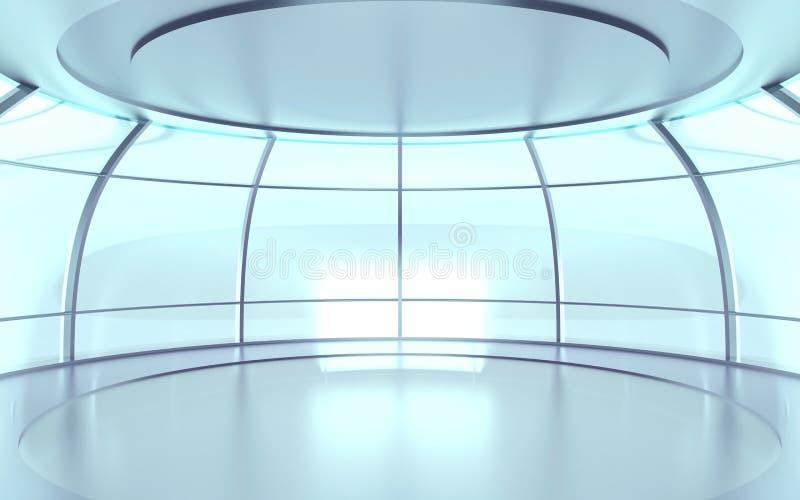 Futuristische Halle mit Glaswänden stock abbildung